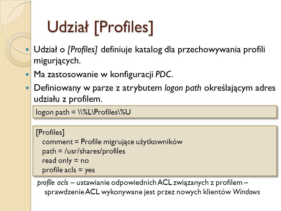 Udział [Profiles] Udział o [Profiles] definiuje katalog dla przechowywania profili migurjących. Ma zastosowanie w konfiguracji PDC.